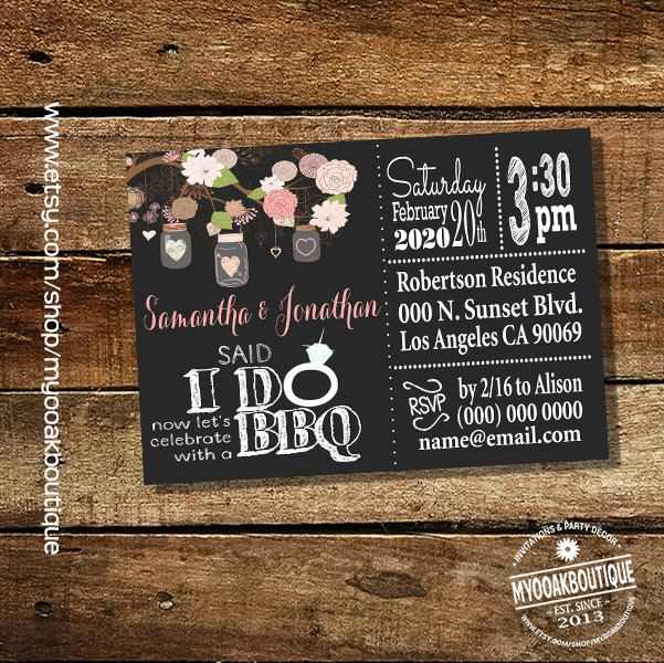 After The Wedding Party Invitations: Said I Do BBQ Invitation Wedding Party Chalkboard Mason