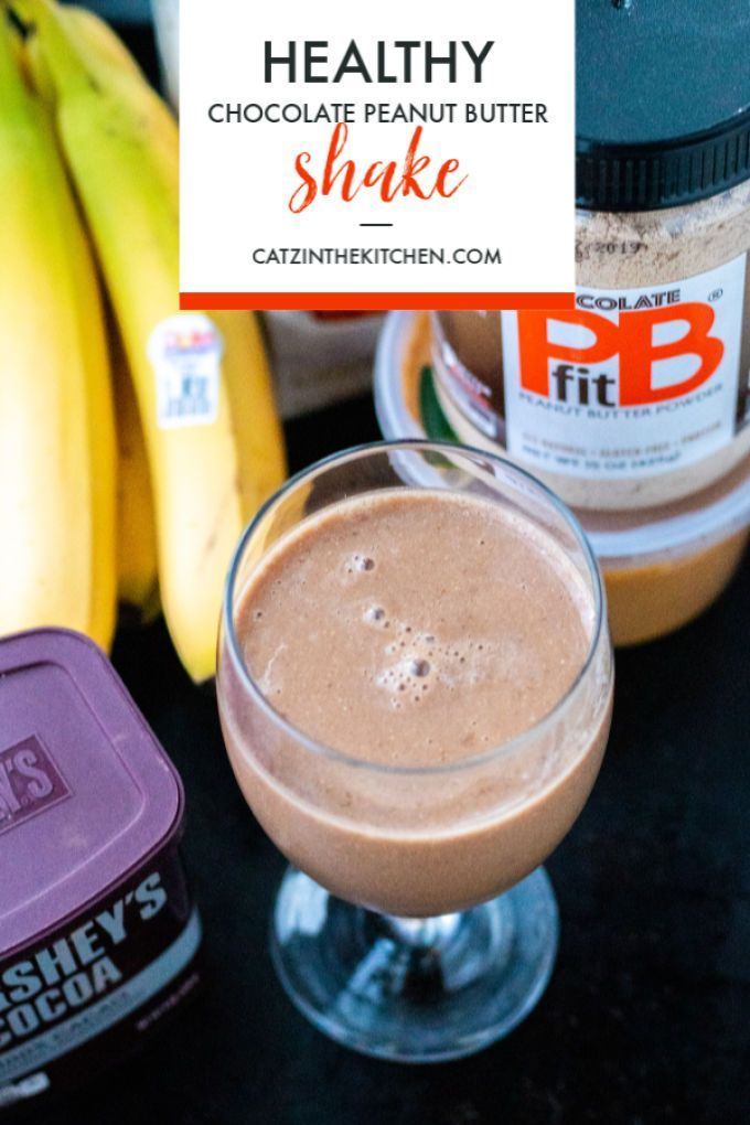 Healthy Chocolate Peanut Butter Shake #healthychocolateshakes Craving a chocolate shake, but want to avoid the calories? We've got you covered with this healthy chocolate peanut butter shake. Try adding protein, too! #healthychocolateshakes
