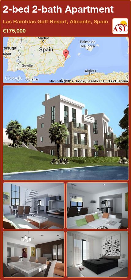 2-bed 2-bath Apartment in Las Ramblas Golf Resort, Alicante, Spain ►€175,000 #PropertyForSaleInSpain