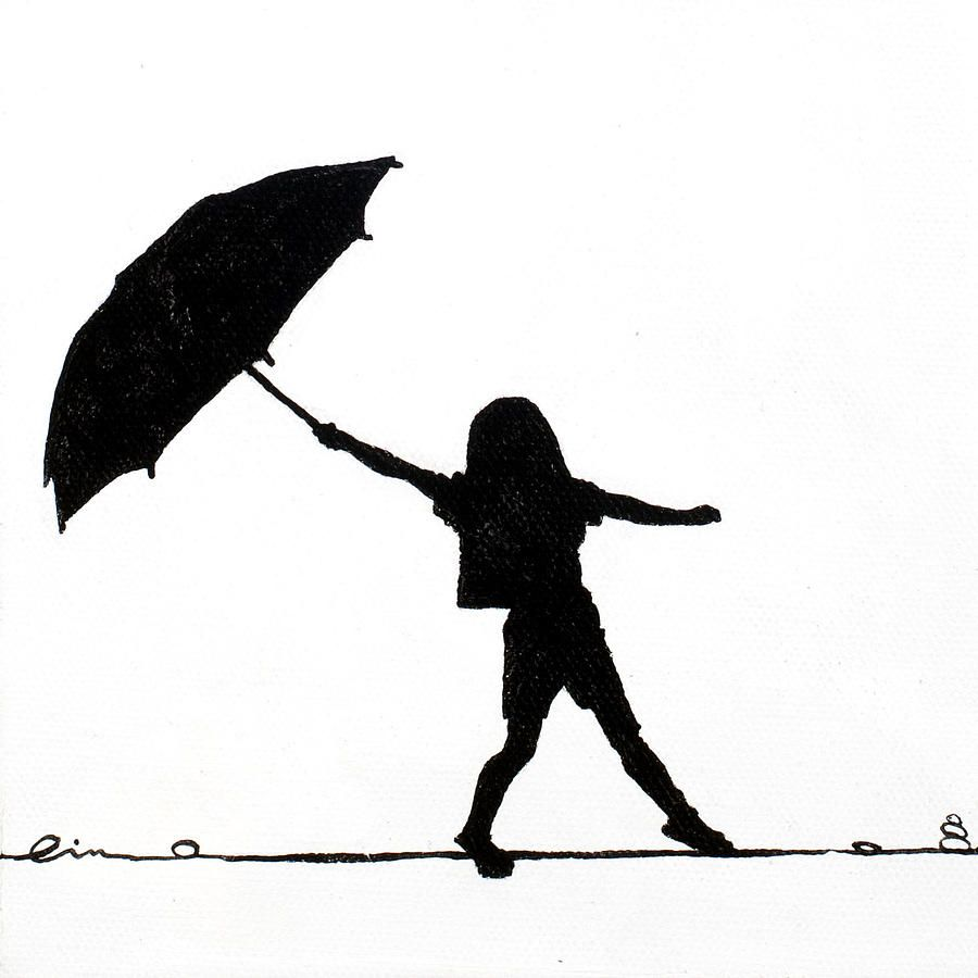holding umbrella silhouette little girls on little canvas