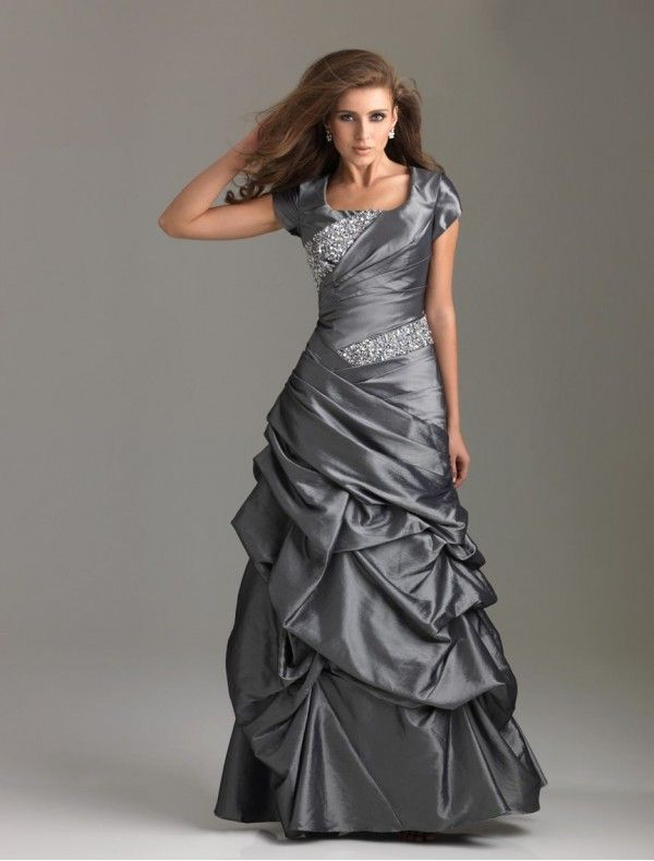 Square Neckline A-Line Prom Dress with Beading Accents Bodice
