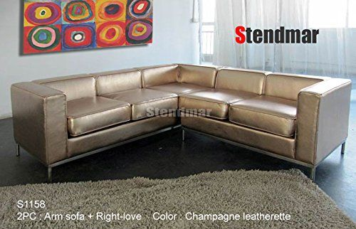 Amazon Com 2pc Modern Champagne Gold Leatherette Sectional Sofa