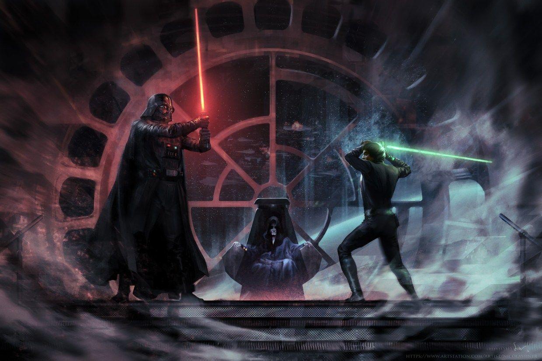 Vader Vs Luke By Nicolas Siner Star Wars Wallpaper Star Wars Concept Art Star Wars Art