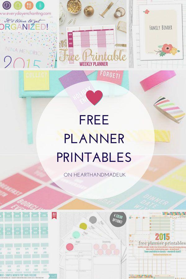 Free Planner Printables (Heart Handmade uk) Free planner, Planners