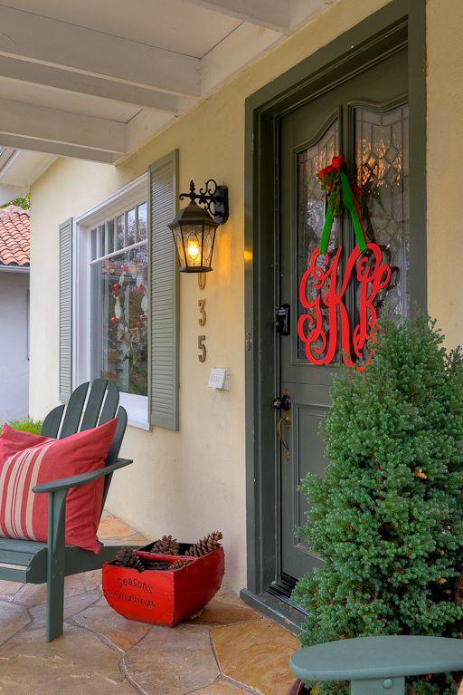 Initial Wreath | Home crafts, Outdoor christmas, Door ...