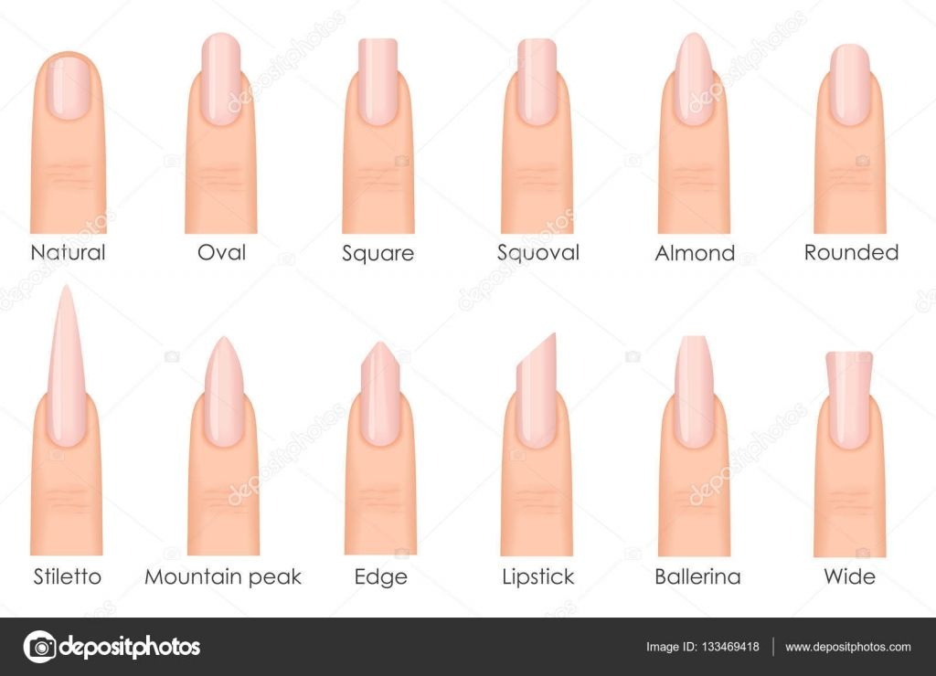 Different Fashion Nail Shapes Set Kinds Of Nails Fashion Nails Type Trends Beauty Spa Salon Woman Fi Types Of Nails Shapes Acrylic Nail Shapes Fashion Nails