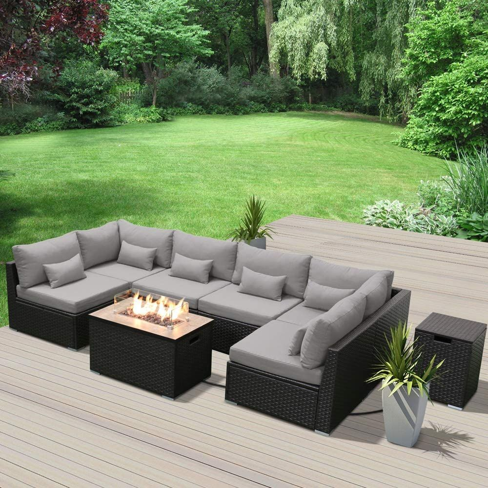 Amazon Com Dineli Patio Furniture Sectional Sofa With Gas Fire Pit Table Outdoor Patio Furni Fire Pit Patio Set Sectional Patio Furniture Patio Furniture Fire Patio table with fire pit