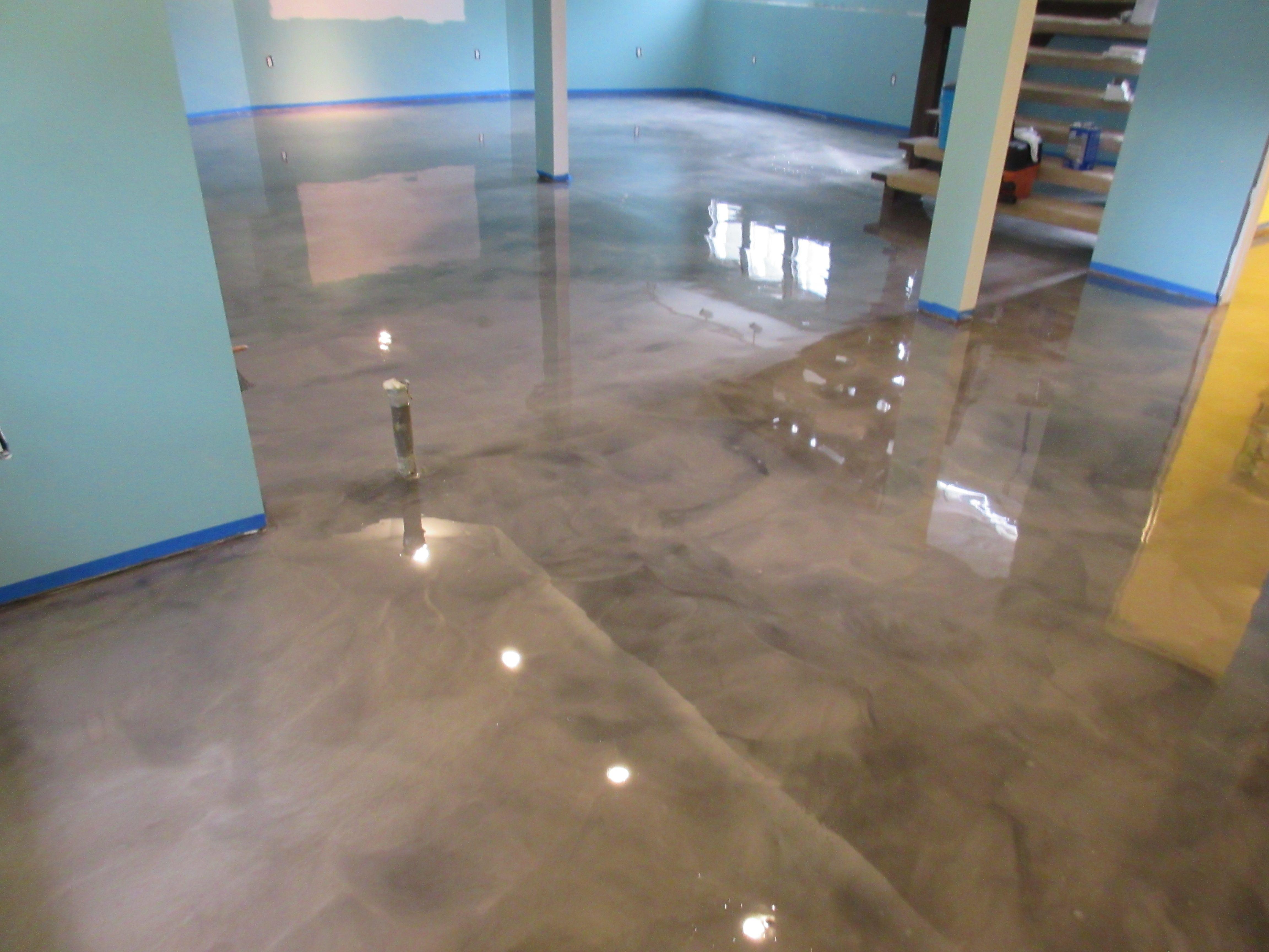 Unbelievable Epoxy Basement Floor Transformation Basement Flooring Options Basement Flooring Metallic Epoxy Floor