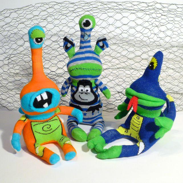 Sock Monster Alien, Blah Blah - Orange & Turquoise | Sock