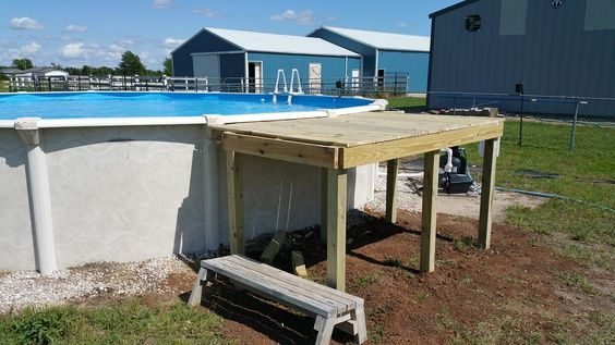 How i built a cheap above ground pool deck pool deck - Above ground pool bar ...