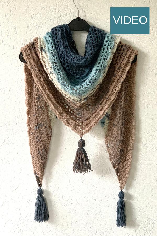 scarfwrapshawlette pattern for beginners triangle shawl made with LionBrand Mandala yarn cake Such Simple Shawl Crochet shawl pattern