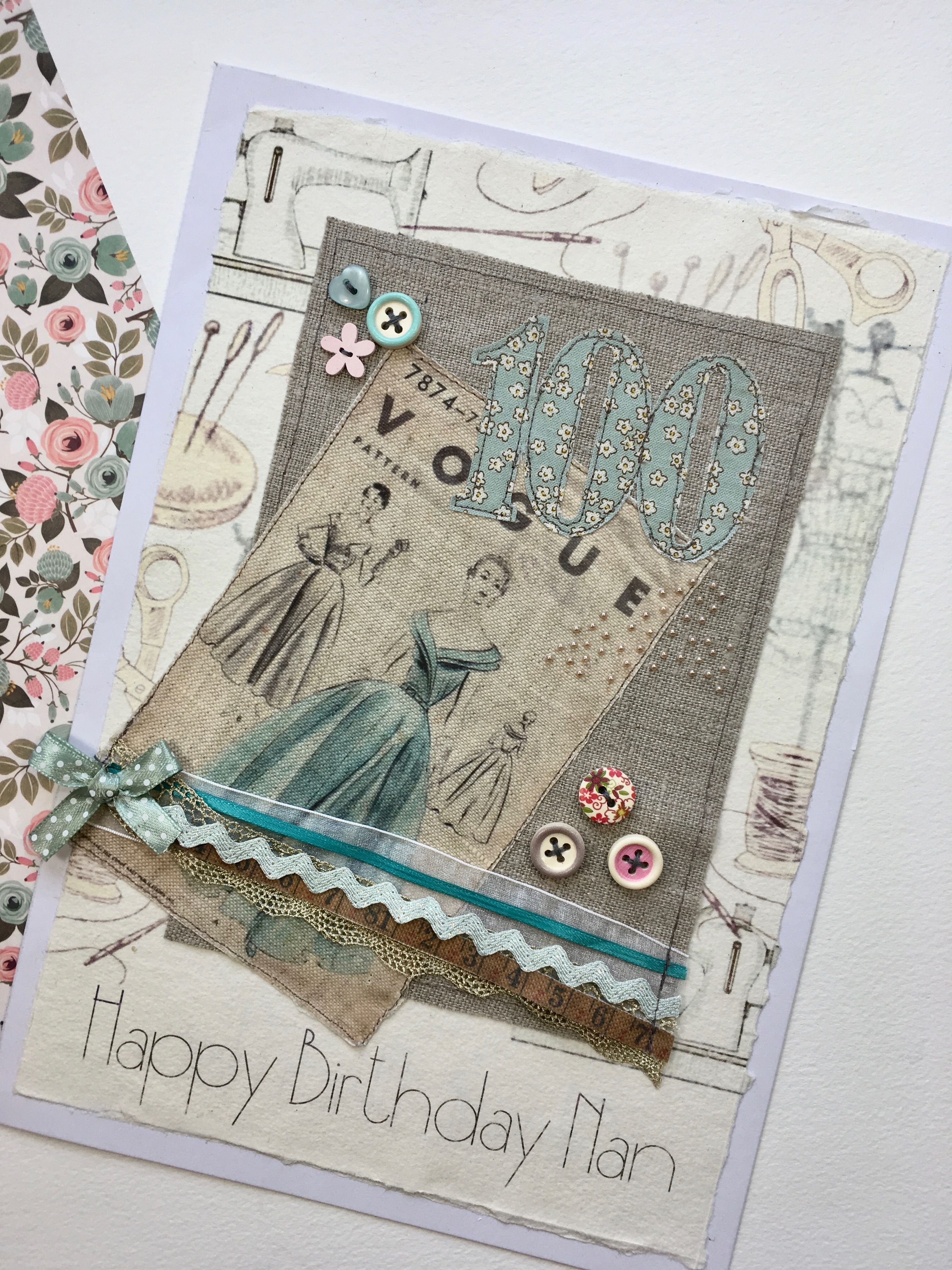 Bespoke Vintage Fashion Vogue Sewing Pattern Style Card For A 100 Year Old Lady Who Used To Be Seamstress I Love This The Most As Its So Tactile