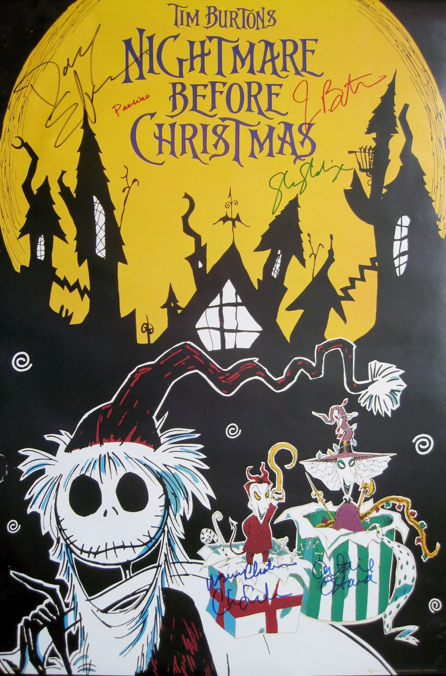NIGHTMARE BEFORE CHRISTMAS (1993) movie poster CAST signed