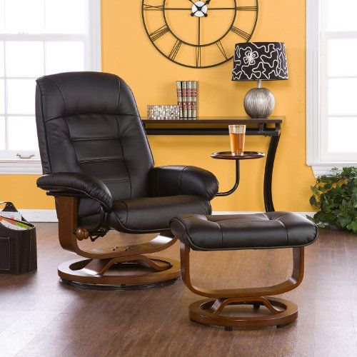 Adjustable Black Leather Recliner and Ottoman Office Chair