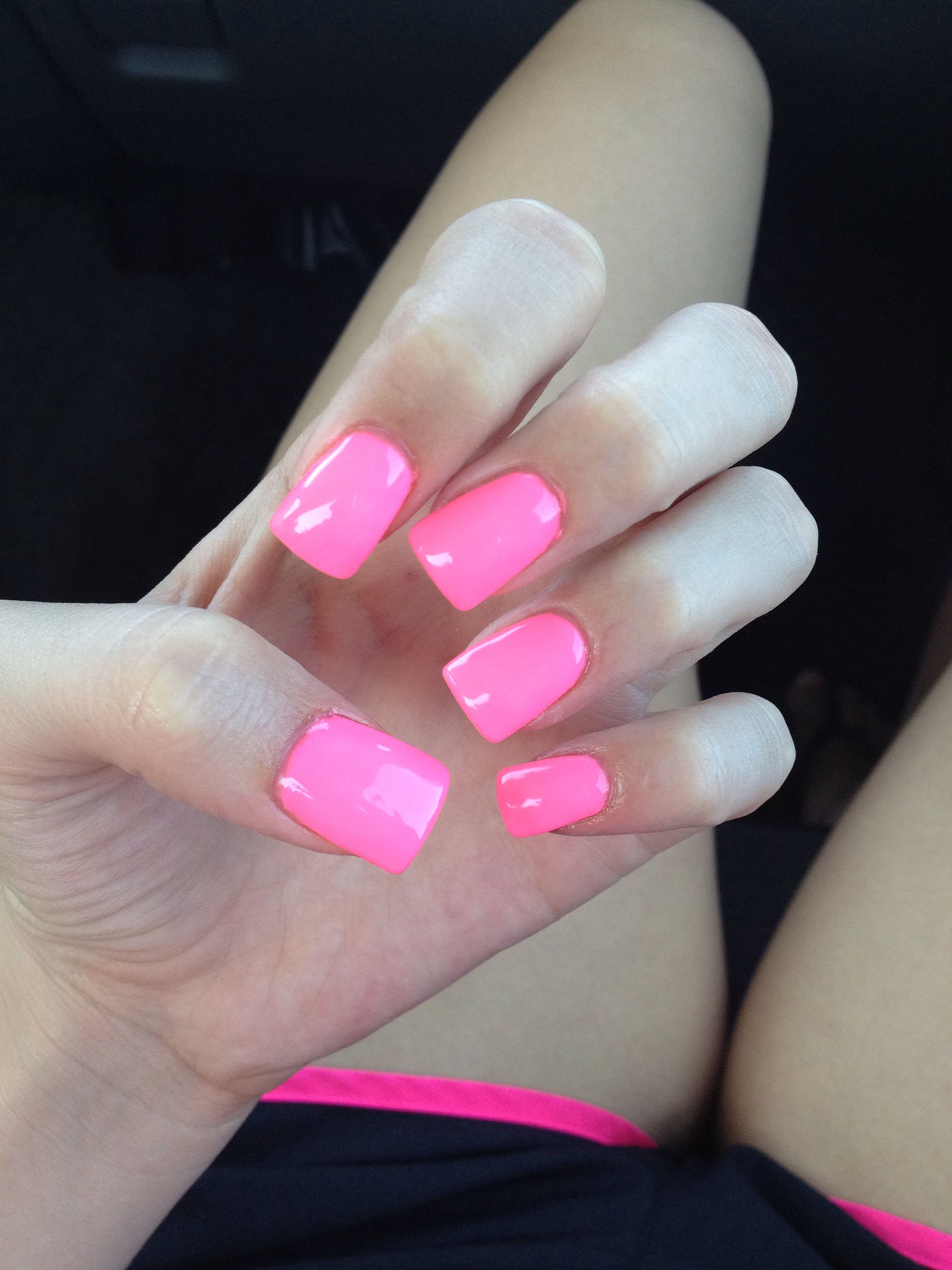 Hot Pink Acrylic Nails Bright Love