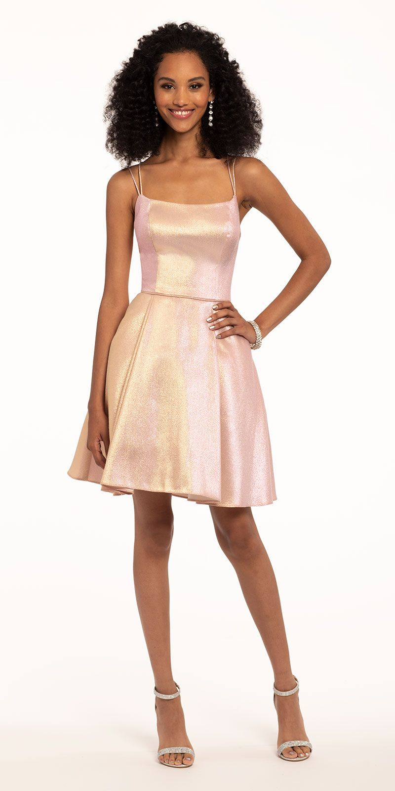 Metallic Fit And Flare Party Dress Summer Cocktail Dress Short Cocktail Dress Dresses [ 1600 x 800 Pixel ]