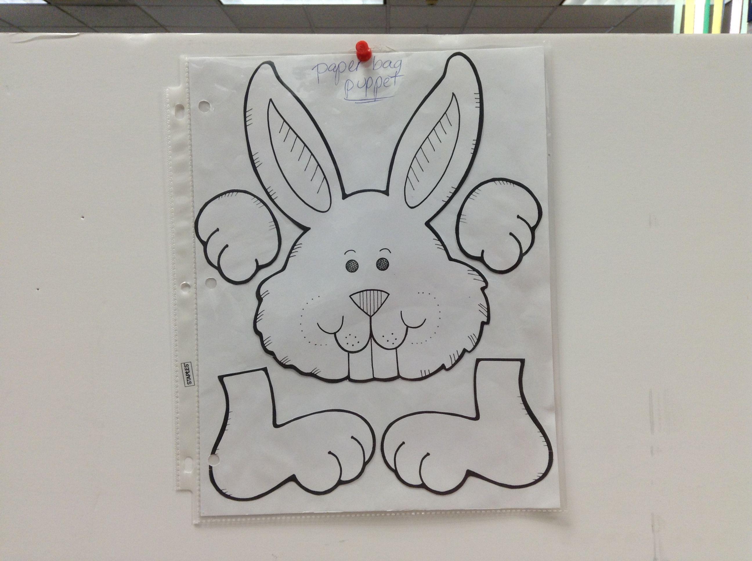 Bunny: paper bag puppet template   Work   Pinterest   Paper bag puppets