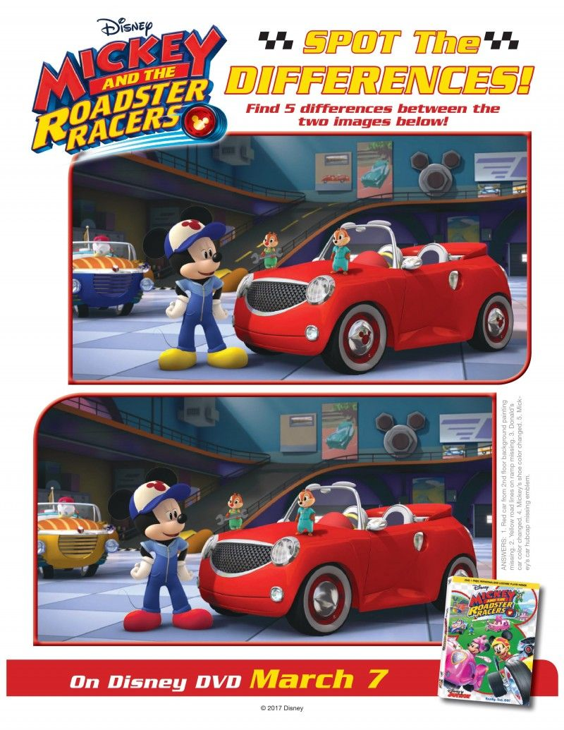 Disney Mickey And The Roadster Racers Spot The Difference Activity