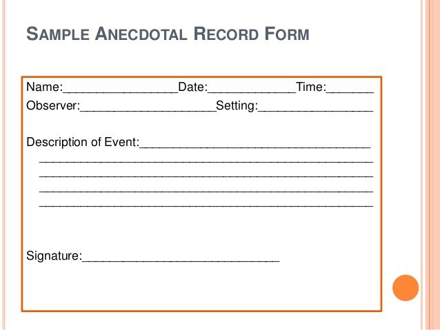 anecdotal observation of child Effective assessment requires teachers to observe children over time and in   the els is an authentic, observation-based assessment  record anecdotal.