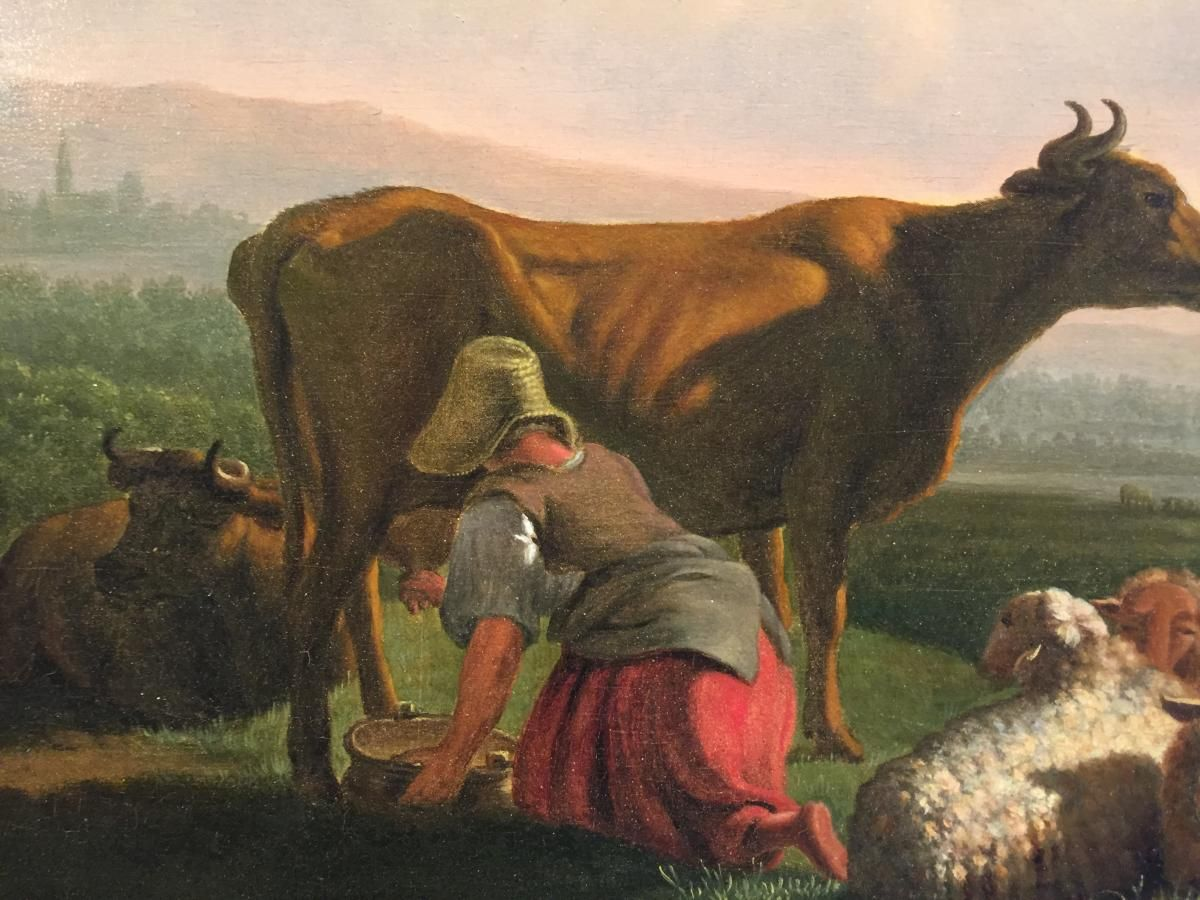La traite (peinture hollandaise) - 19e siècle | Peinture, Art