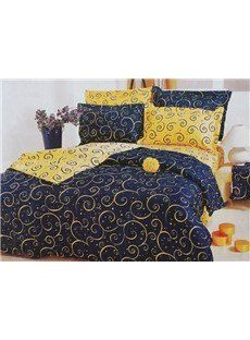 Unique Blue and Yellow Abstract Decorative Pattern 4 Piece Printed Bedding Sets