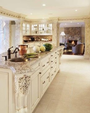 bianco antico granite and grey washed cabinetry add wood floors and rh pinterest com