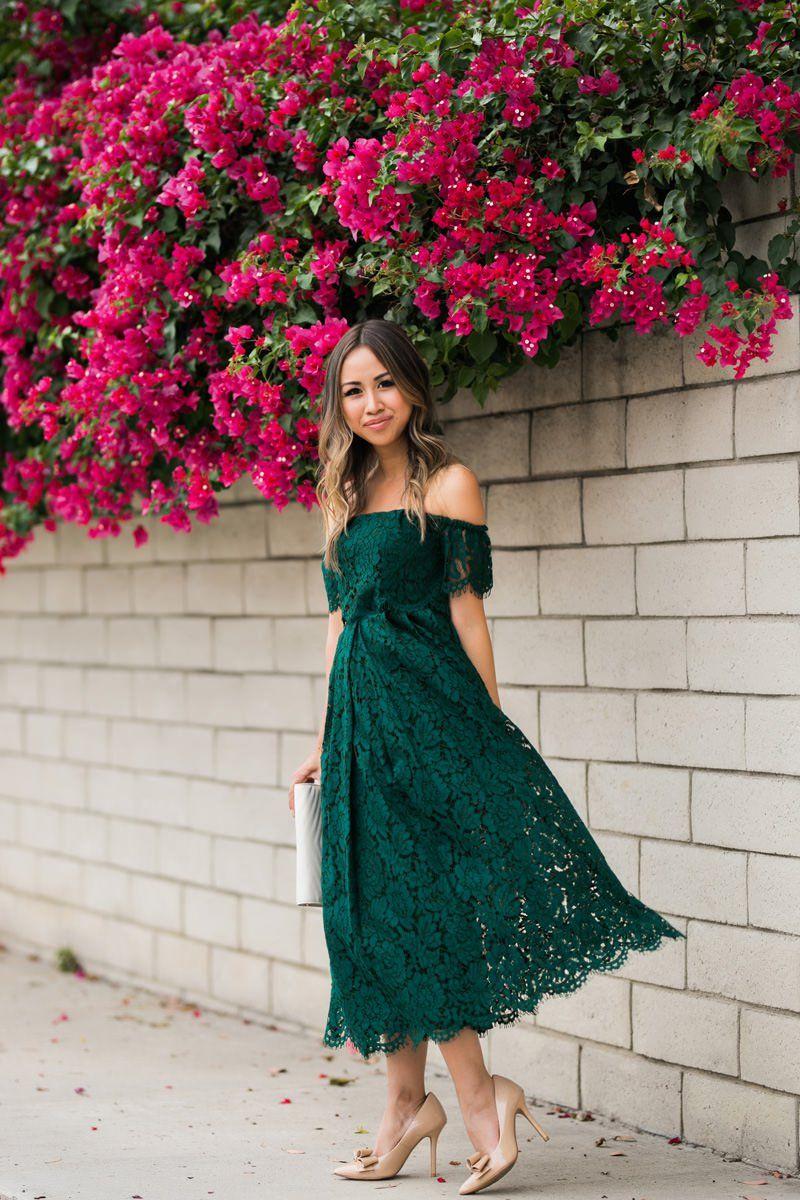 Birthday green tea length prom dress green lace dresses
