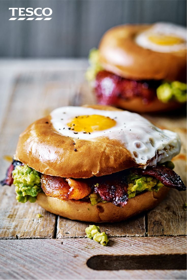 Egg in a hole with spicy bacon and guacamole