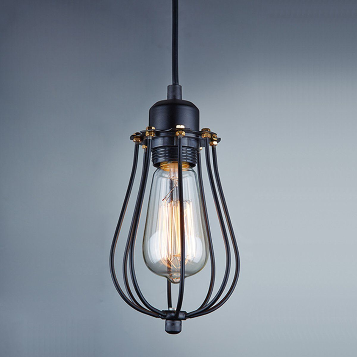 Mini Pendant Light Wire Bulb Cages Mcgill Lamp Guards And Cage Wiring Diagram Lightess Vintage Style Industrial Hanging Black Guard