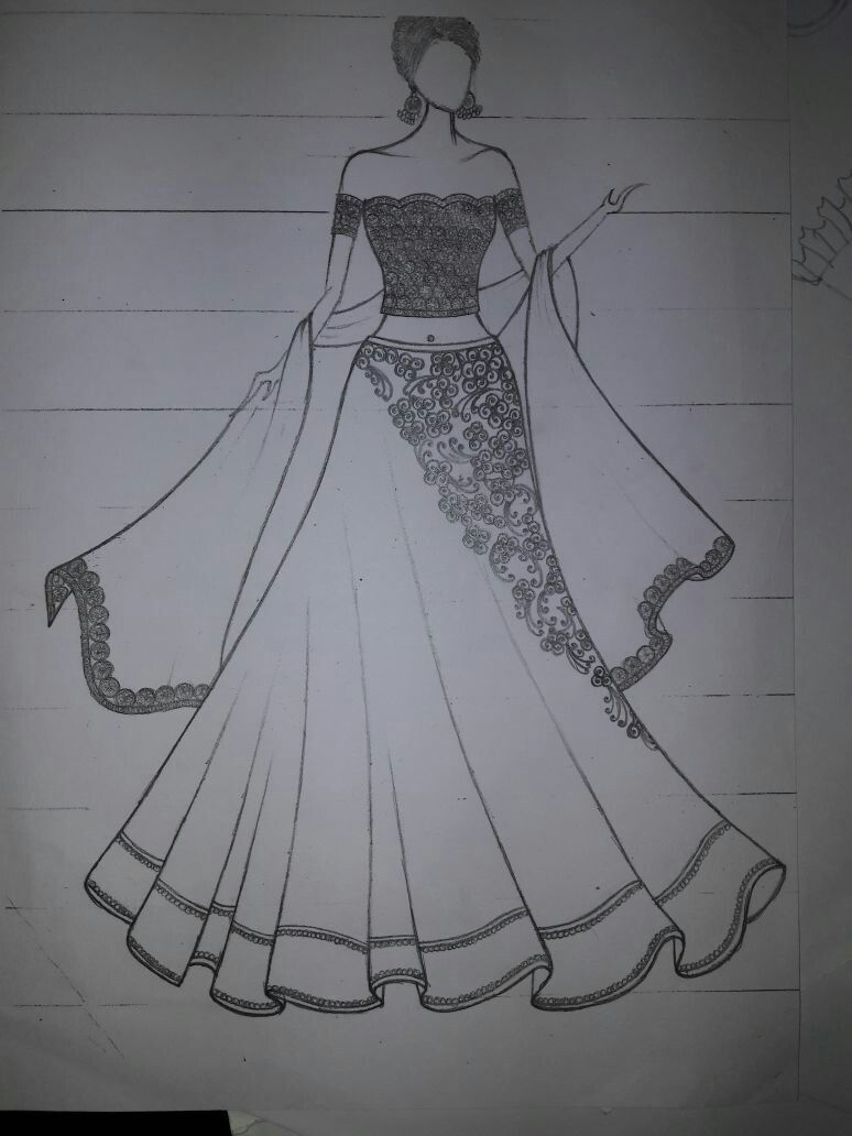 Pin By Shruthi Vk On My Ideas Of Drawins Fashion Illustration Sketches Dresses Dress Design Drawing Dress Design Sketches