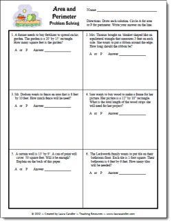 Area and Perimeter Word Problems freebie | Math measurement ...