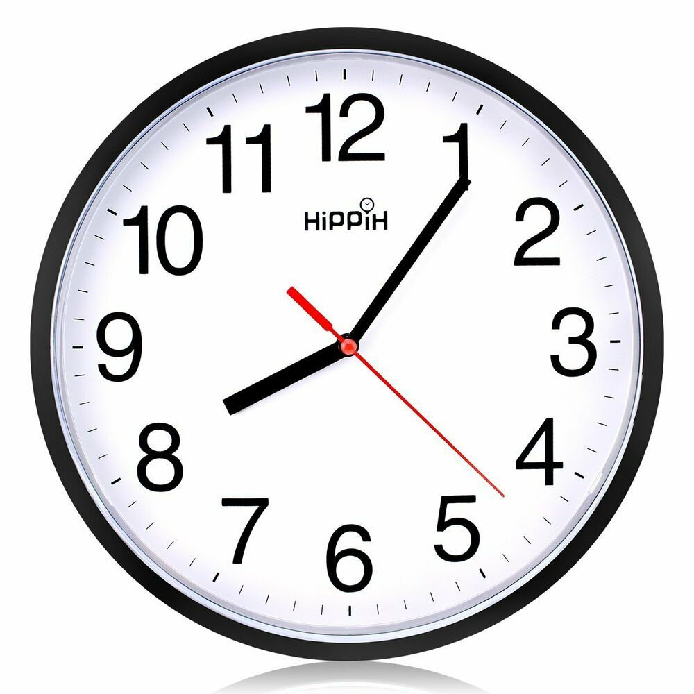 Black Wall Clock Silent Non Ticking Quality Quartz By Hippih 10 Inch Round Easy Fashion Home Garden Homedcor Black Wall Clock Wall Clock Wall Clock Silent