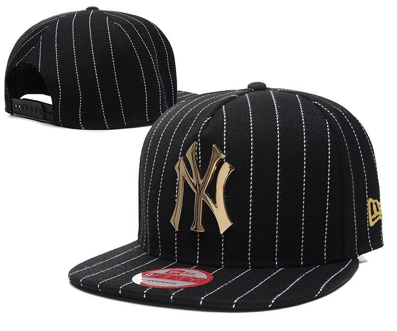 99016874 Men's New York Yankees New Era 9Fifty Gold Metal NY Logo A-Frame White  Stripes Baseball Snapback Hat - Black