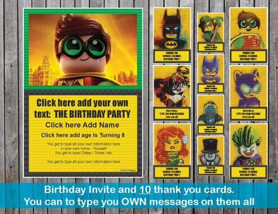 Robin The Lego Batman Movie Invite and 6 Thank You cards Lego