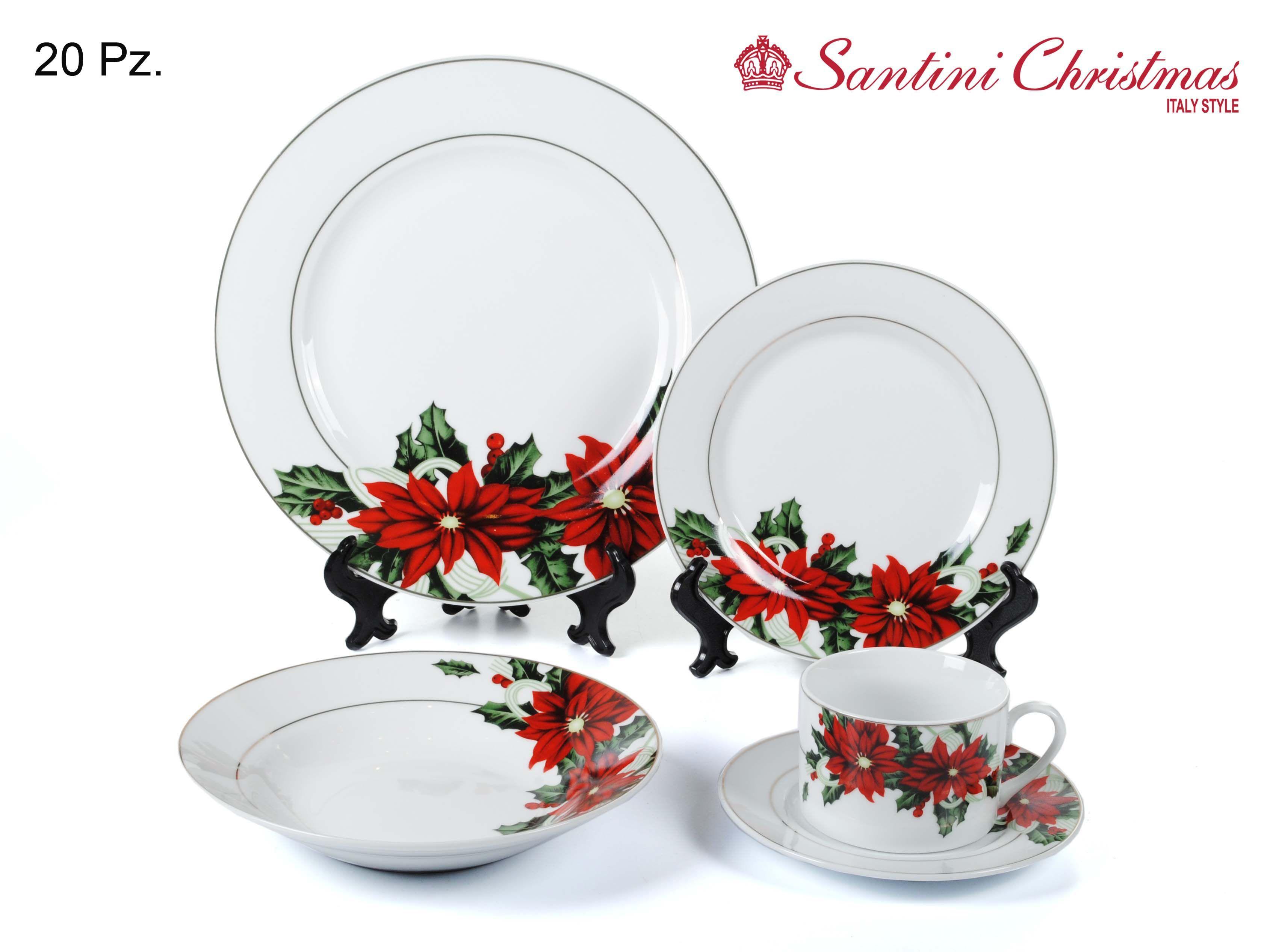 Vajilla de poinsetia poinsettia dinnerware set for Vajillas para navidad