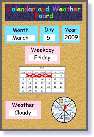 preschool calendar chart: Early learning concept reference sheets calendar weather work