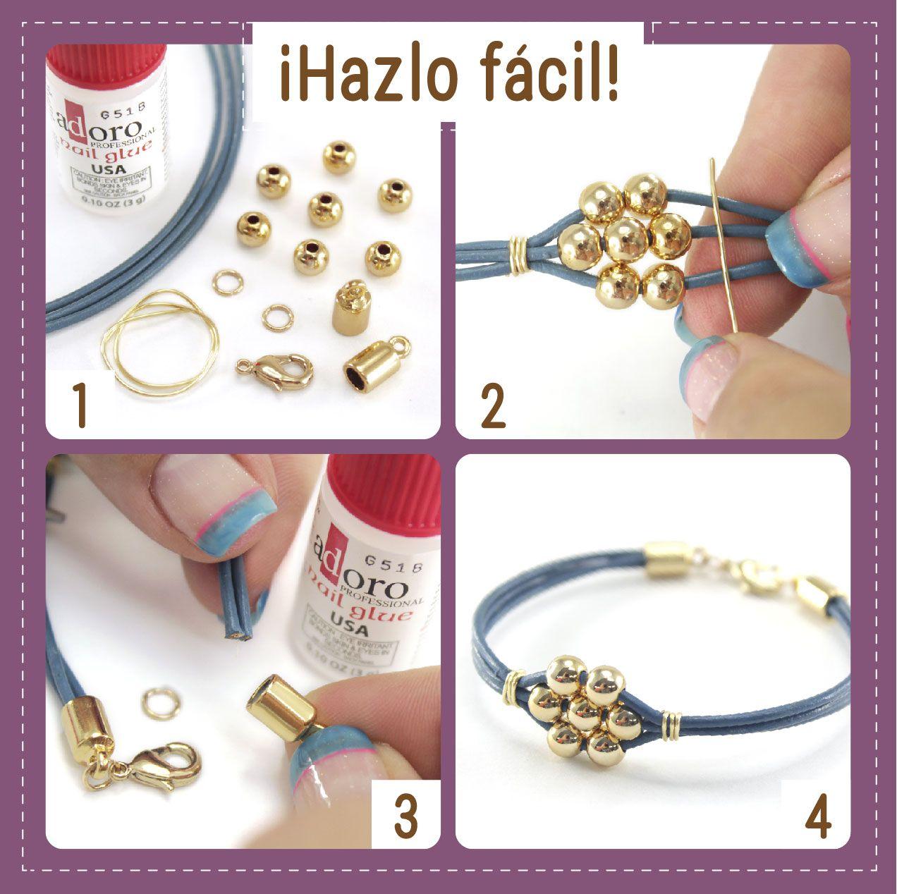 b71a4637c727 Hazlo fácil! Mira cómo se hace una hermosa pulsera en solo 4 pasos ...