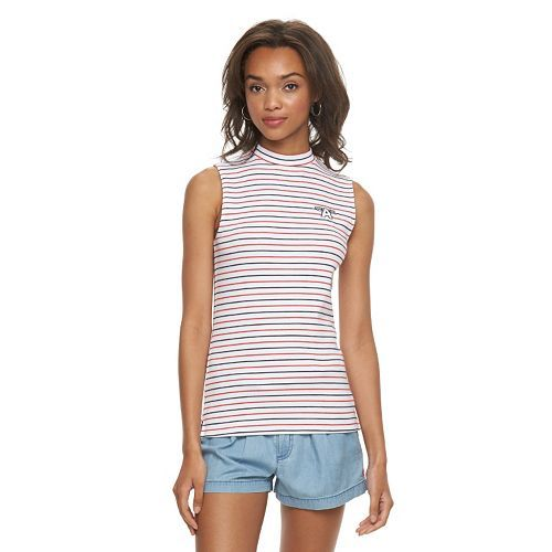 40a9e545f176b Juniors  Her Universe Captain America Striped Mockneck Tank Top by ...