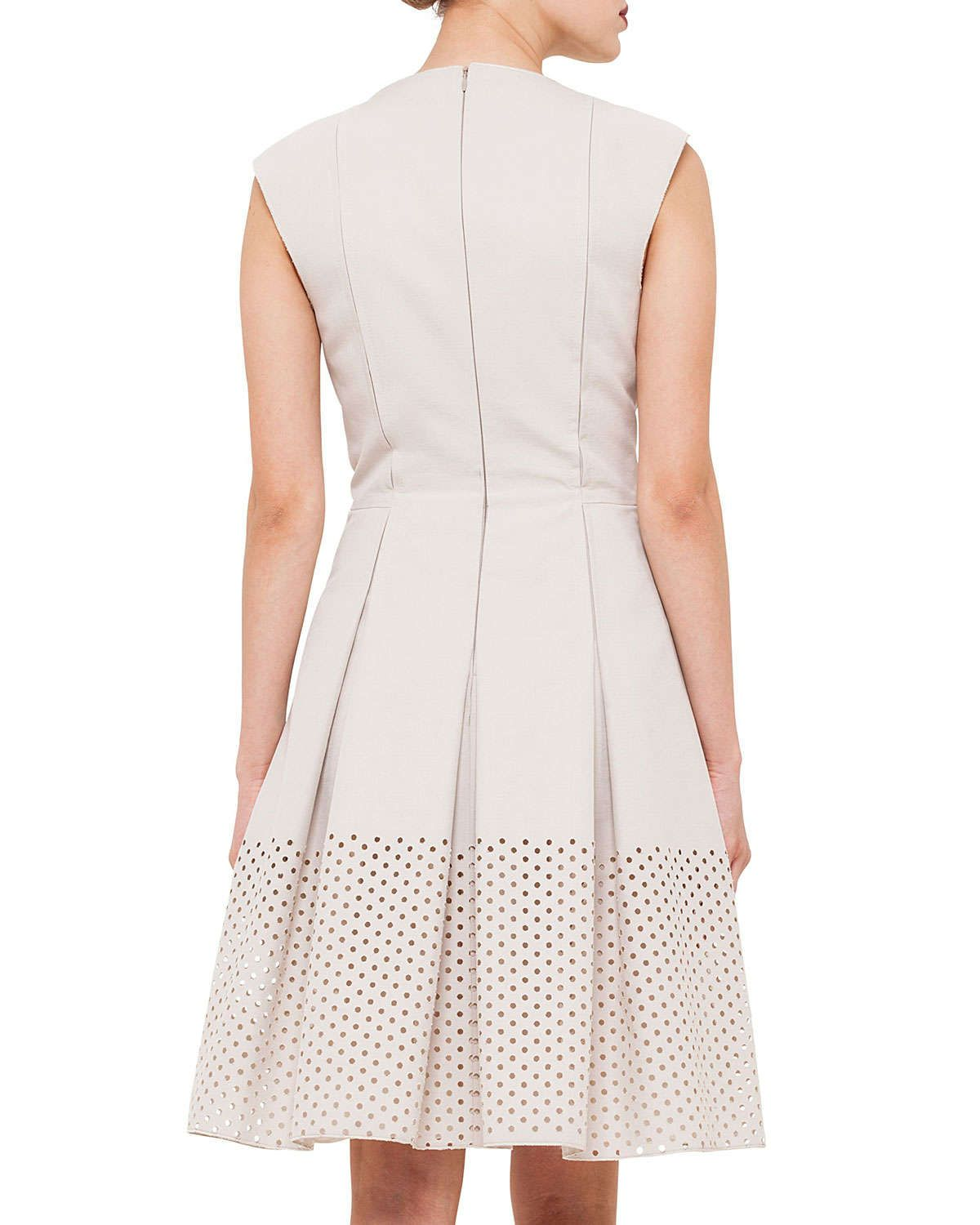 Perforated Hem Zip-Front Fit-And-Flare Dress