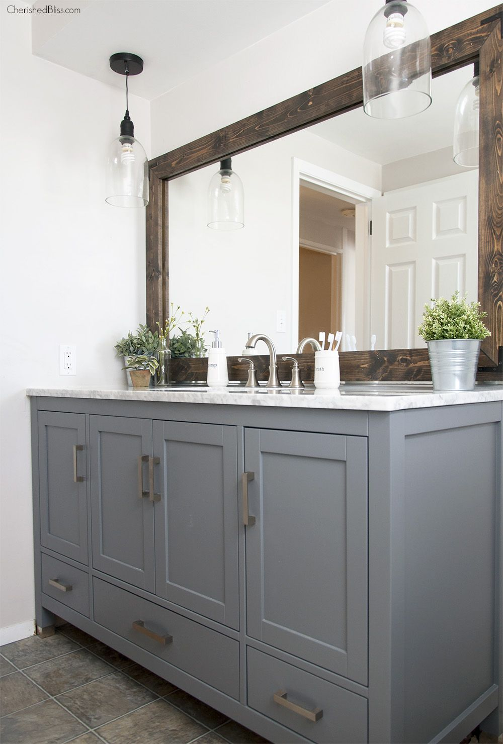 Industrial farmhouse bathroom reveal bath retreat - Farmhouse style bathroom mirrors ...