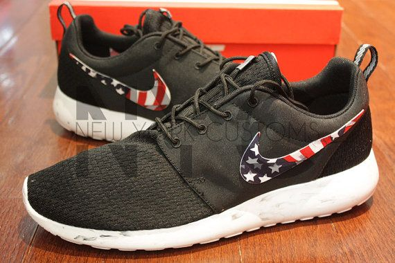 detailed look ba9b7 68a60 Nike Roshe Run Black Marble American Flag Pride Print by NYCustoms