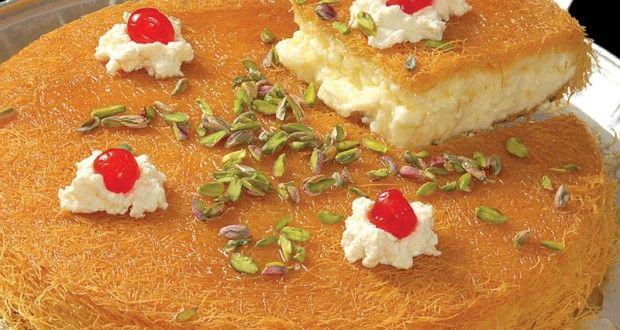 طريقة تحضير الكنافة بالقشطة بالصور Middle Eastern Desserts Lebanese Desserts Arabic Food