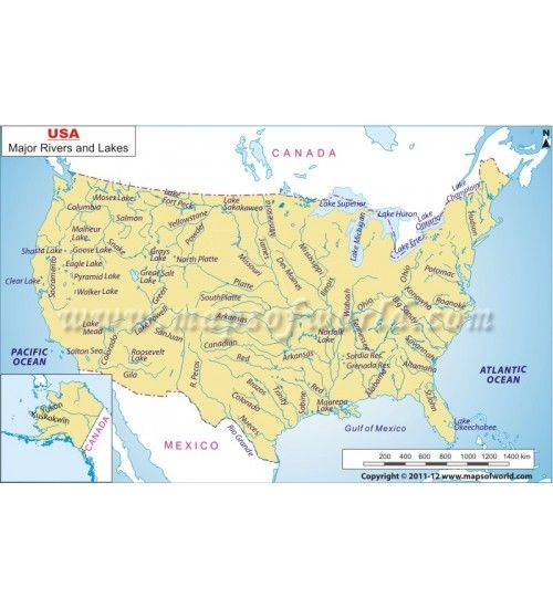 US Rivers and Lakes Map US Maps Pinterest Rivers and Lakes