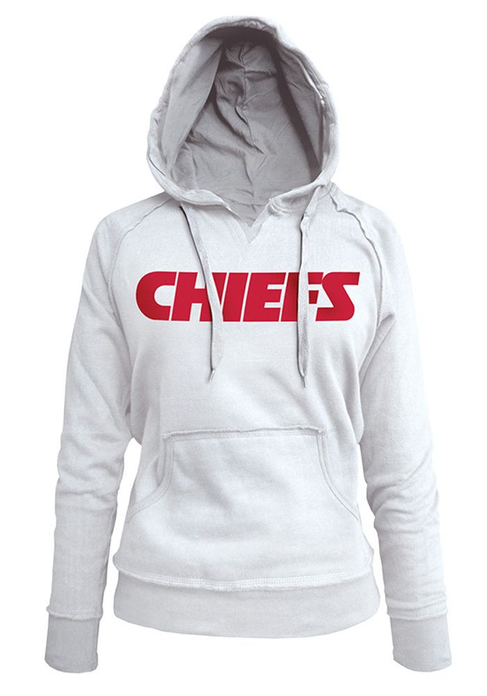 a08140fae5c Kansas City Chiefs Womens Hooded Sweatshirt - White Chiefs Glitter Wordmark  Long Sleeve Hoodie