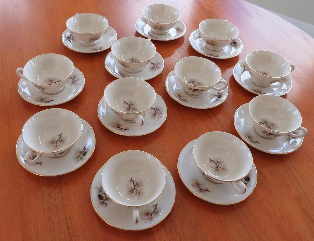 Lenox China Pine Pattern Set of 12 Cups & Saucers 24 Pieces Retired ...