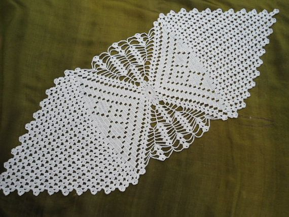 Hand crocheted runner , crochet doilies , table topper , white ...
