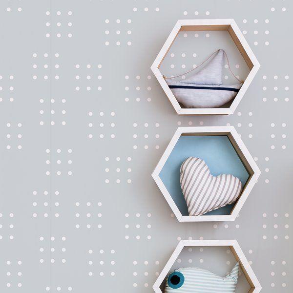 Adzif Dominos 8 Sq Ft Grey Adhesive Wallpaper Km006 B Rona Self Adhesive Wallpaper Wallpaper Modern Nursery