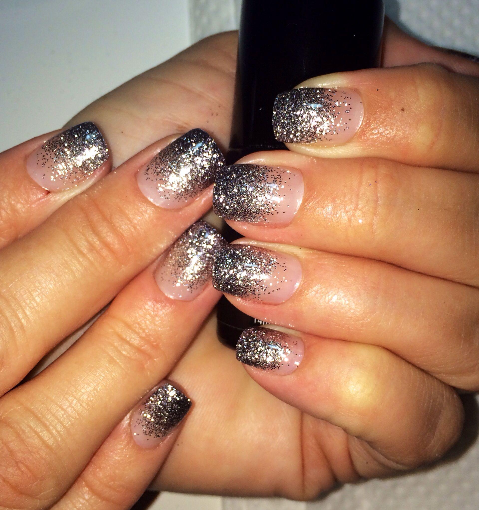 Darker To Lighter Silver Glitter Gel Nails Black Silver Glitter