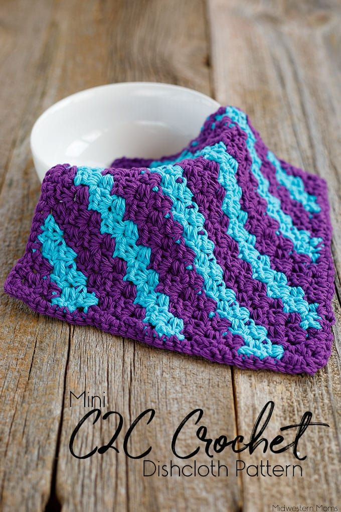 Mini C2C Stripe Crochet Dishcloth | Crochet Patterns | Pinterest