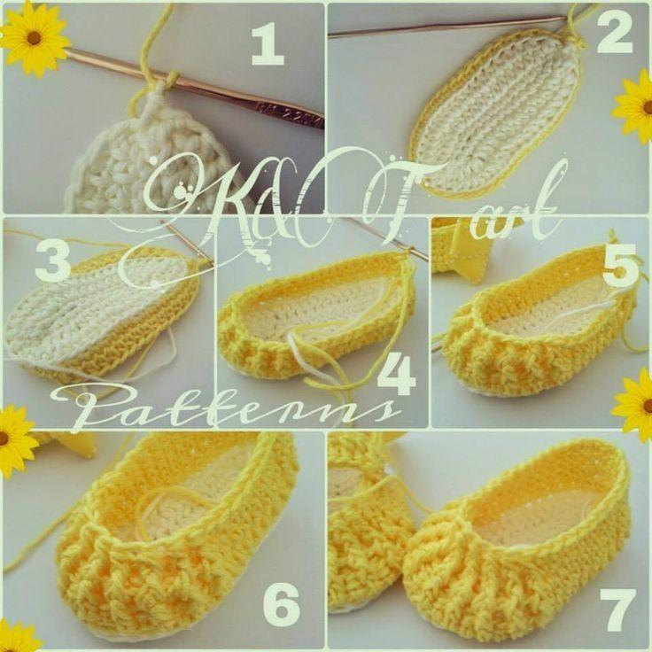 Sapatinho De Croch Passo A Passo Amarelo Amostras De Croch